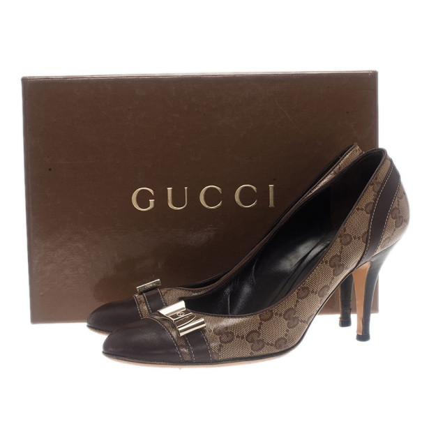 Gucci Guccissima Crystal Cap Toe Bow Pumps Size 39.5