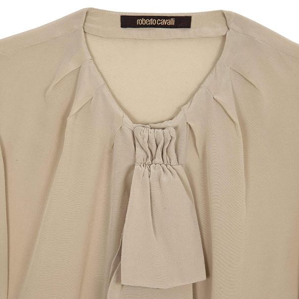 Roberto Cavalli Cream Silk Top Size L
