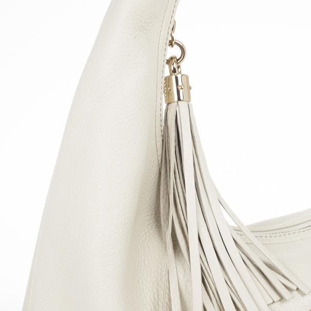 Gucci Off-White Pebbled Calfskin Leather Soho Hobo Bag
