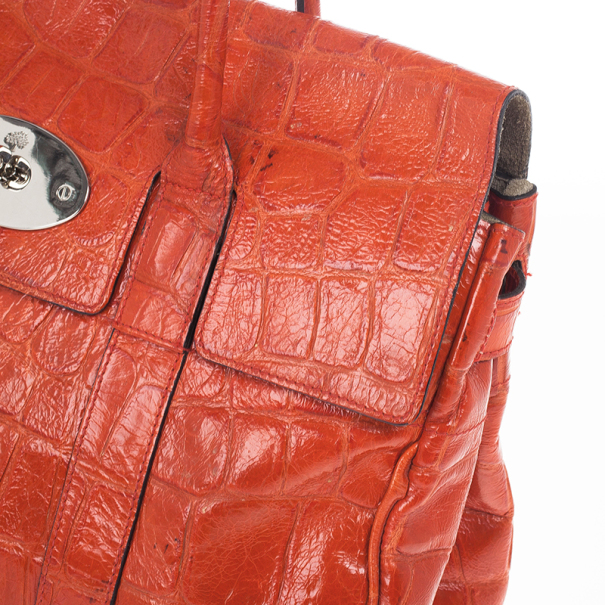Mulberry Red Soft Croc Printed Bayswater Satchel