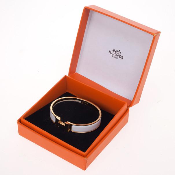 Hermes Clic Clac H White Enamel Gold Plated Bracelet