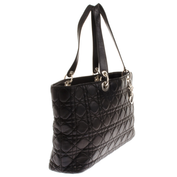 Christian Dior Black Lady Dior Soft Shopper