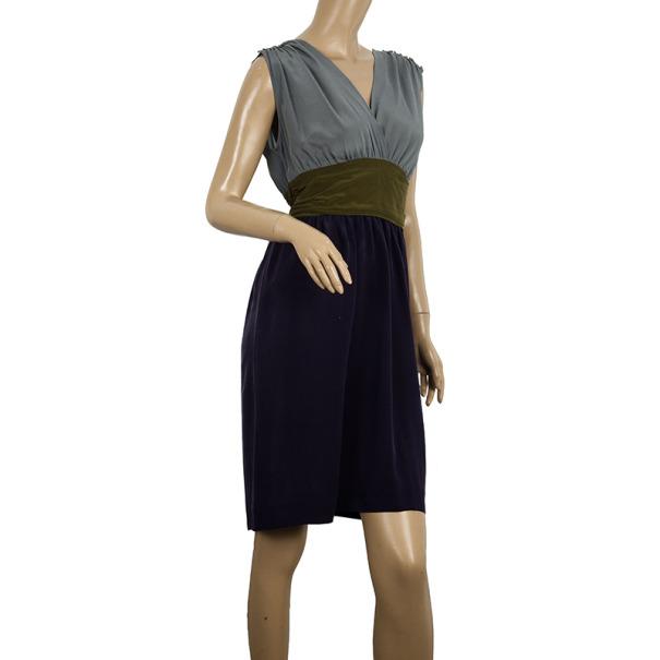 Philosophy di Alberta Ferretti Silk Colorblock Sash Dress M