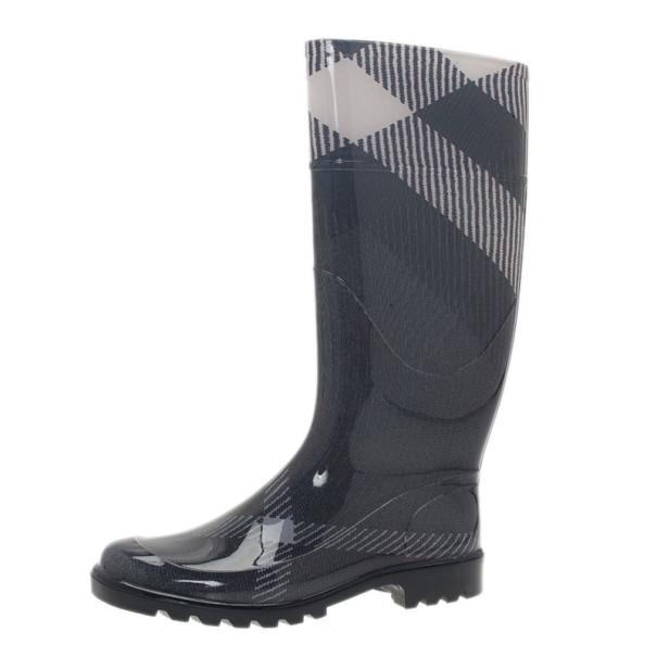 Burberry Grey Checked Wellington Rain Boots Size 37