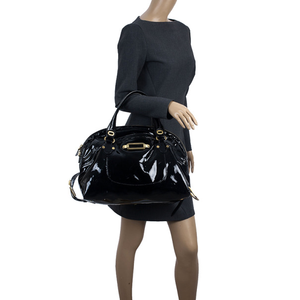 Jimmy Choo Black Patent Leather Thora Dome Satchel