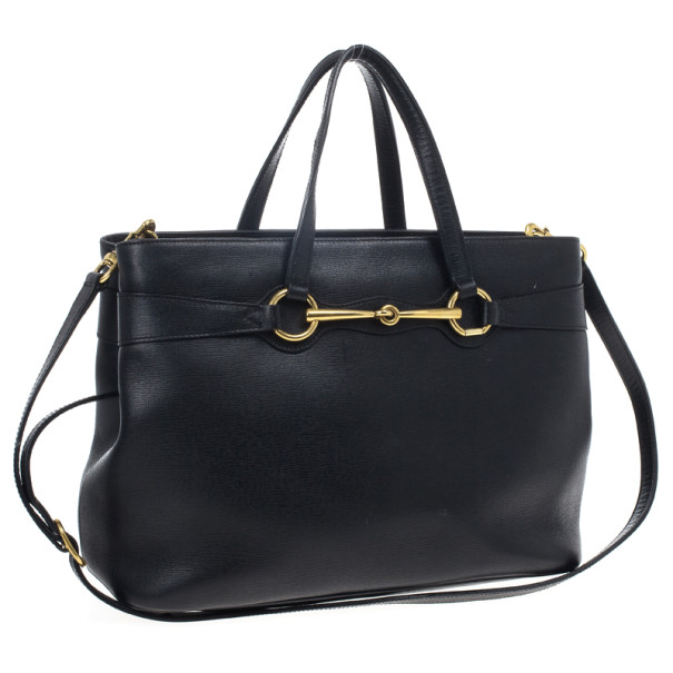 Gucci Black Leather Bright Bit Large Tote