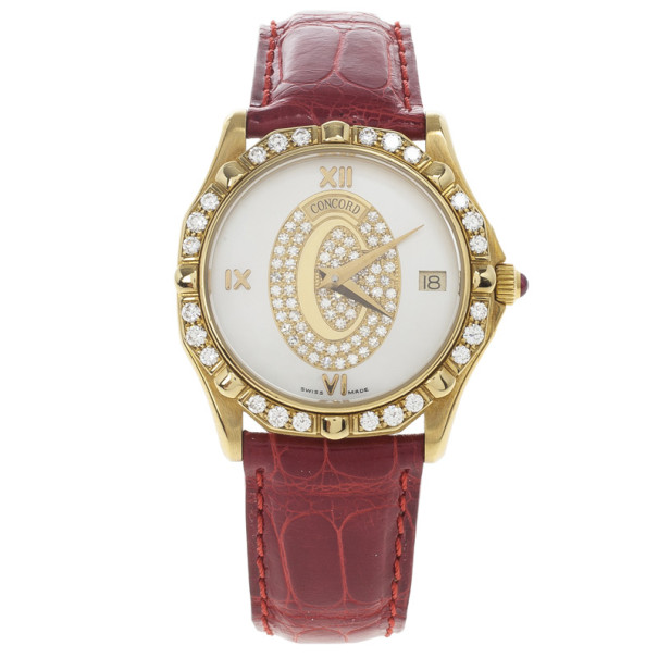 Concord Saratoga SL 18K Yellow Gold Diamond Womens Watch 32 MM