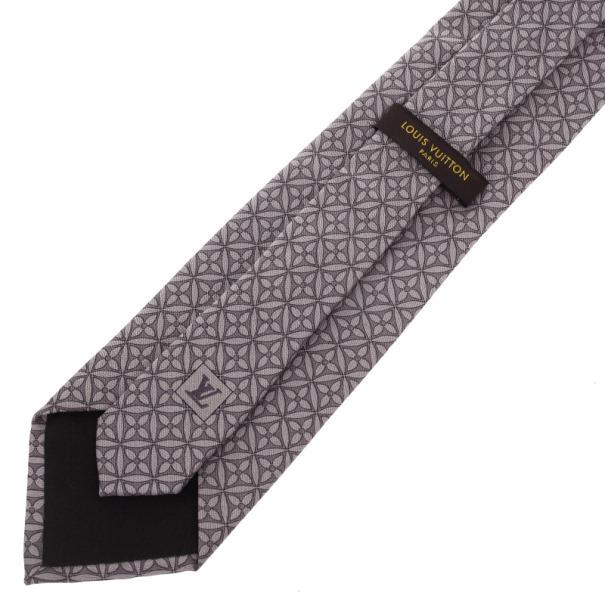 Louis Vuitton Grey Floral Print Tie