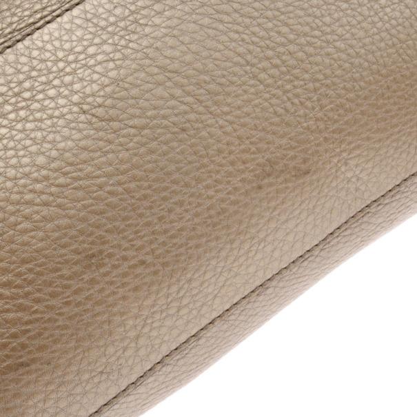 Gucci Gold Metallic Pebbled Calfskin Leather Soho Medium Tote