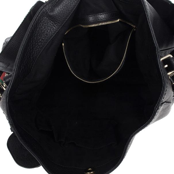 Gucci Black Leather Gucci Heritage Web Striped Hobo
