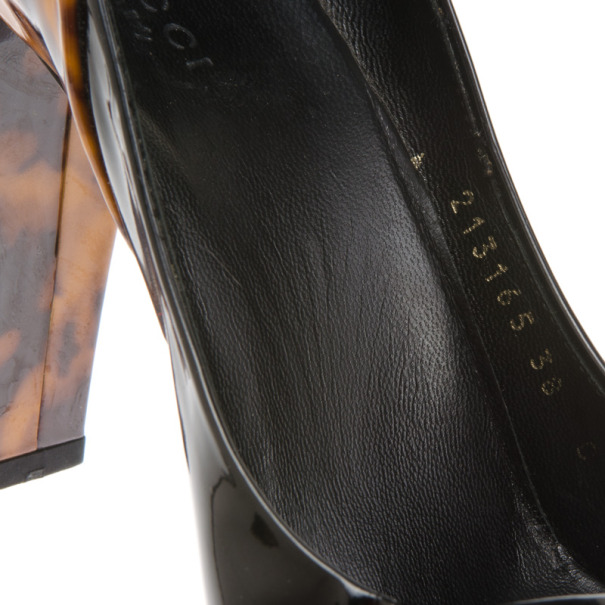 Gucci Black & Tortoise Patent Pumps Size 38