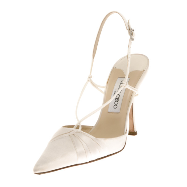Jimmy Choo White Satin Pointed Toe Slingback Sandals Size 39