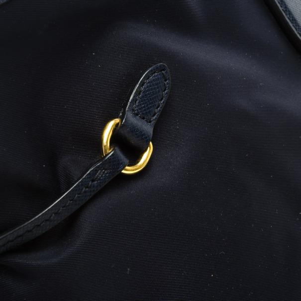 Prada Navy Nylon Saffiano Trimmed Drawstring Tote