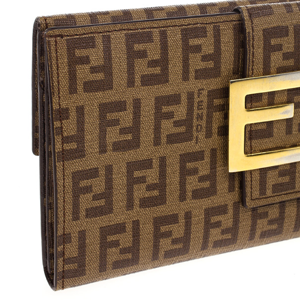 Fendi Brown Zucchino Spalmati 'Forever' Continental Wallet