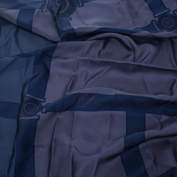 Burberry Blue Clasp Print Scarf