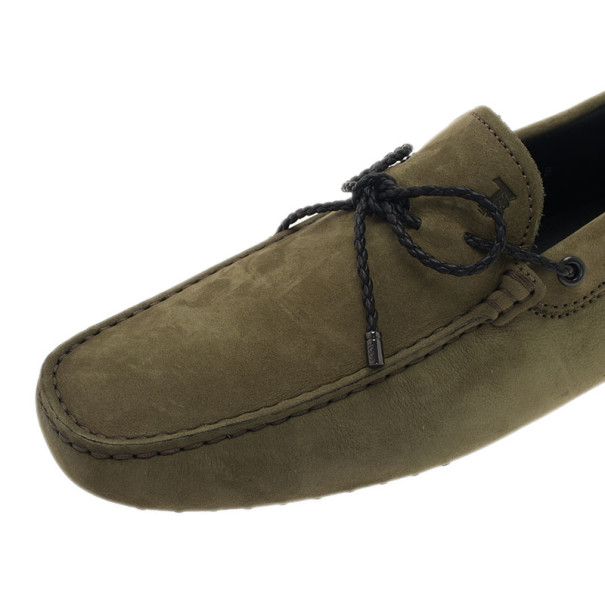 Tod's Light Green Suede Bow Loafers Size 42