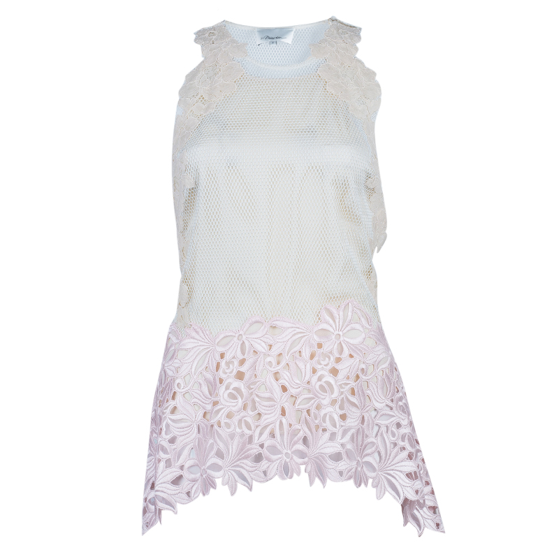 3.1 Phillip Lim Sleeveless Floral Lace Insert Top M