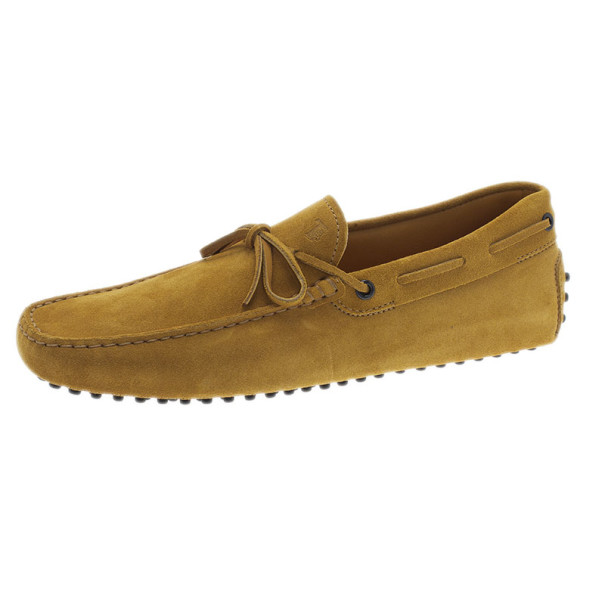 Tod's Mustard Suede Bow Loafers Size 42.5