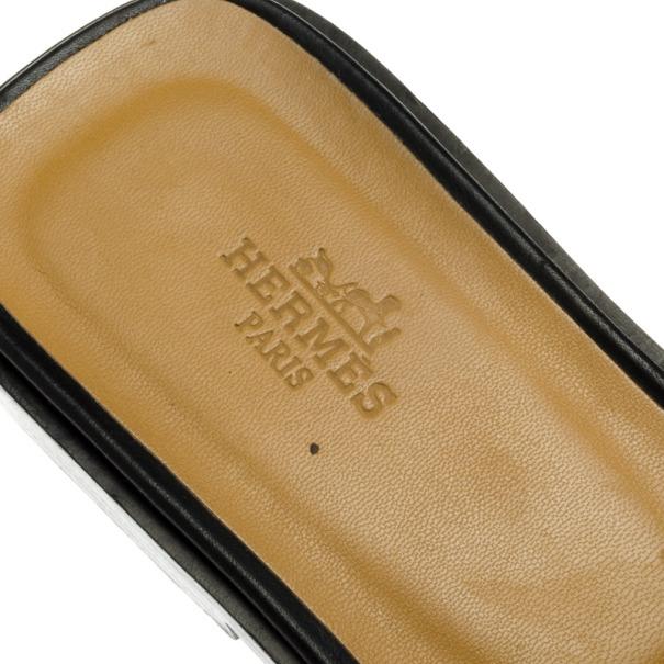 Hermes Black Leather Oran Box Sandals Size 39