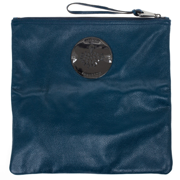 Mulberry Blue Metallic Spongy Pebbled Daria Clutch