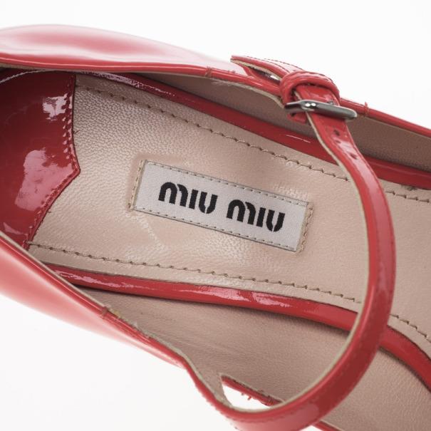 Miu Miu Coral Patent Mary Jane Pumps Size 37.5