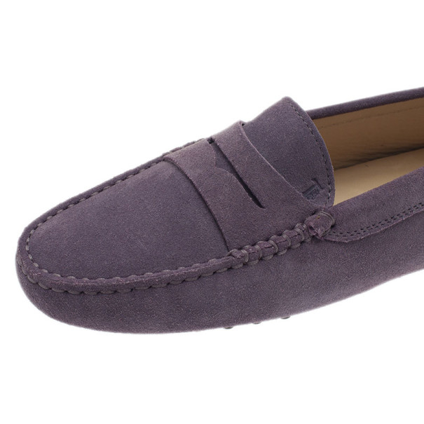 Tod's Lilac Suede Penny Loafers Size 38.5