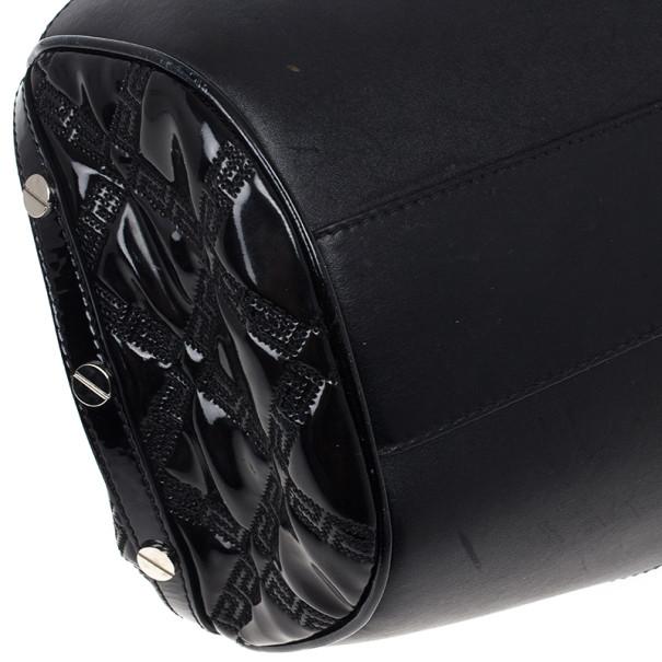 Versace Black Patent Chain Link Handle Satchel