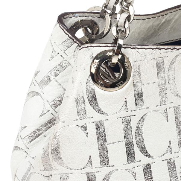 Carolina Herrera White Monogram Chain Handle Tote