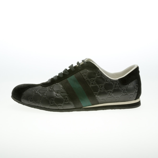 Gucci Black Guccissima Leather Web Detail Sneakers Size 43