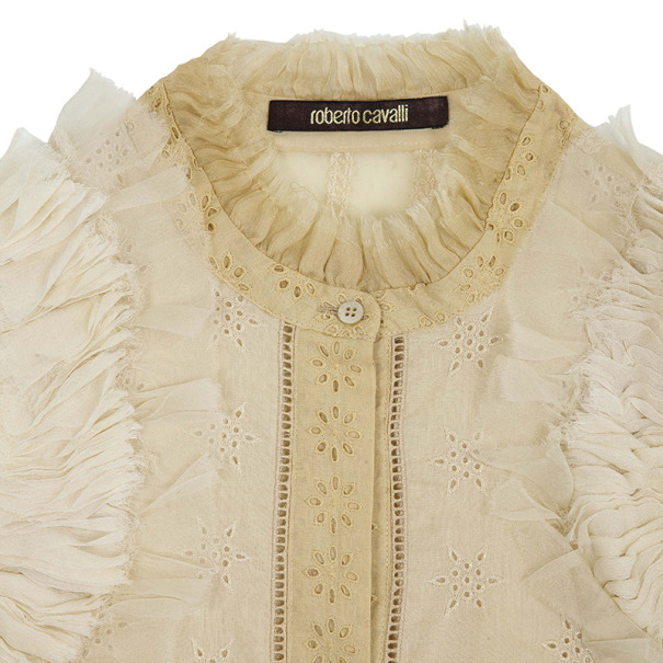 Roberto Cavalli Silk Chiffon Broderie Anglaise Top Size M