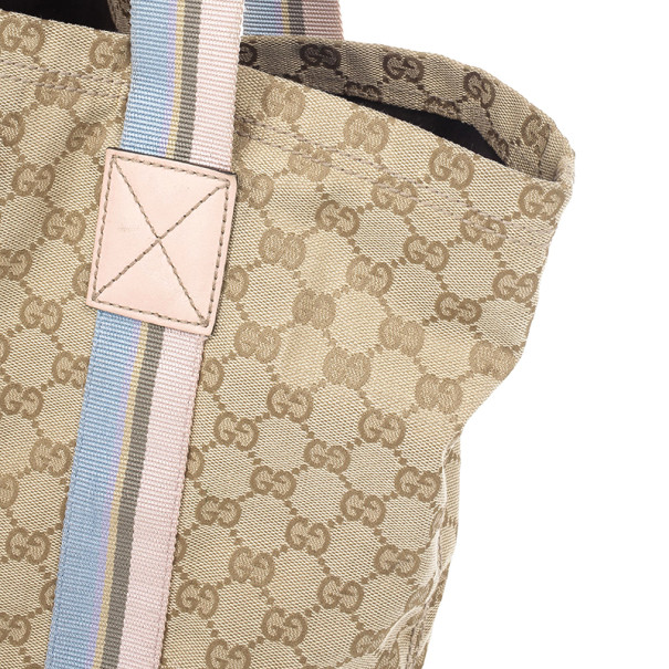 Gucci Beige GG Canvas Pink Web Tote Bag