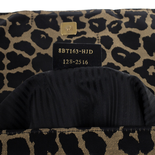 Fendi Leopard Zucca Baguette Handbag