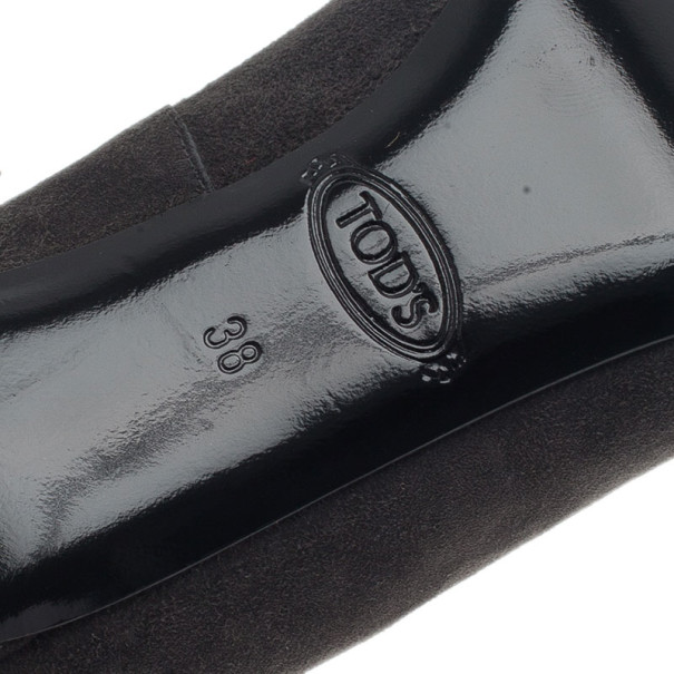 Tod's Grey Suede Embellished Pumps Size 38