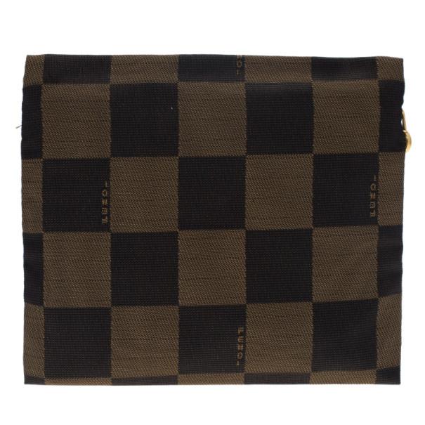 Fendi Brown Checkered Vintage Pouch