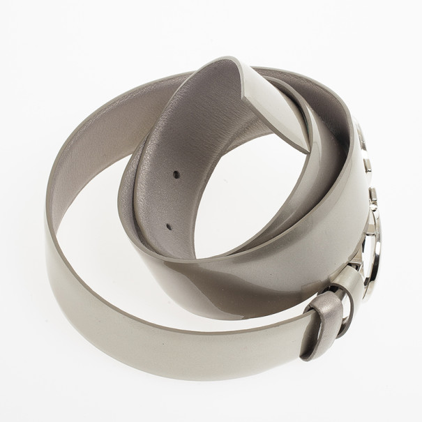 Salvatore Ferragamo Silver Metallic Gancino Bit Belt 73 CM