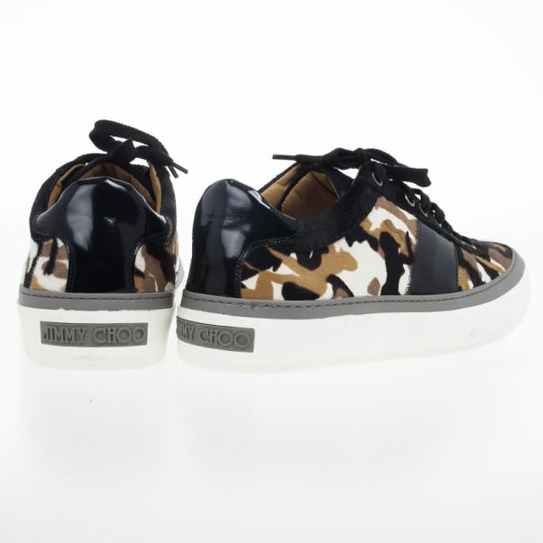 Jimmy Choo Portman Camouflage Pony Hair Sneakers Size 43