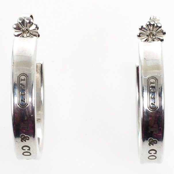 Tiffany & Co. 1837 Narrow Hoop Silver Earrings