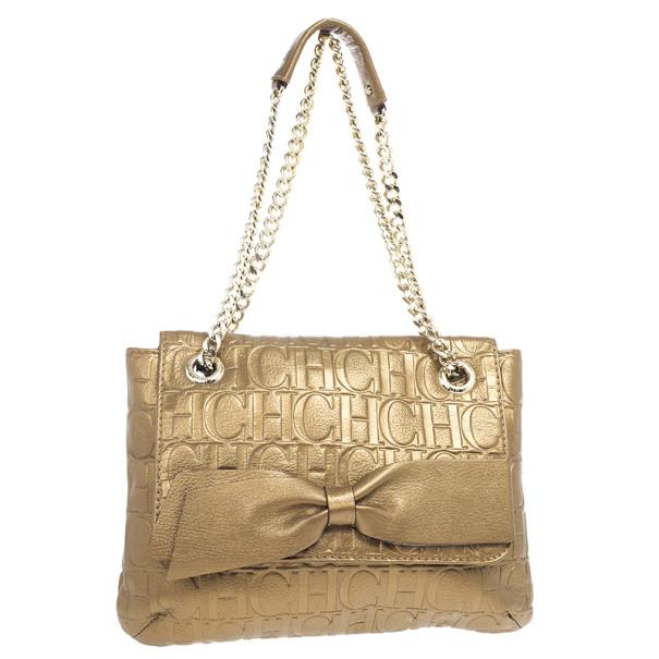 Carolina Herrera 'Holly' Bronze Monogram Embossed Bag
