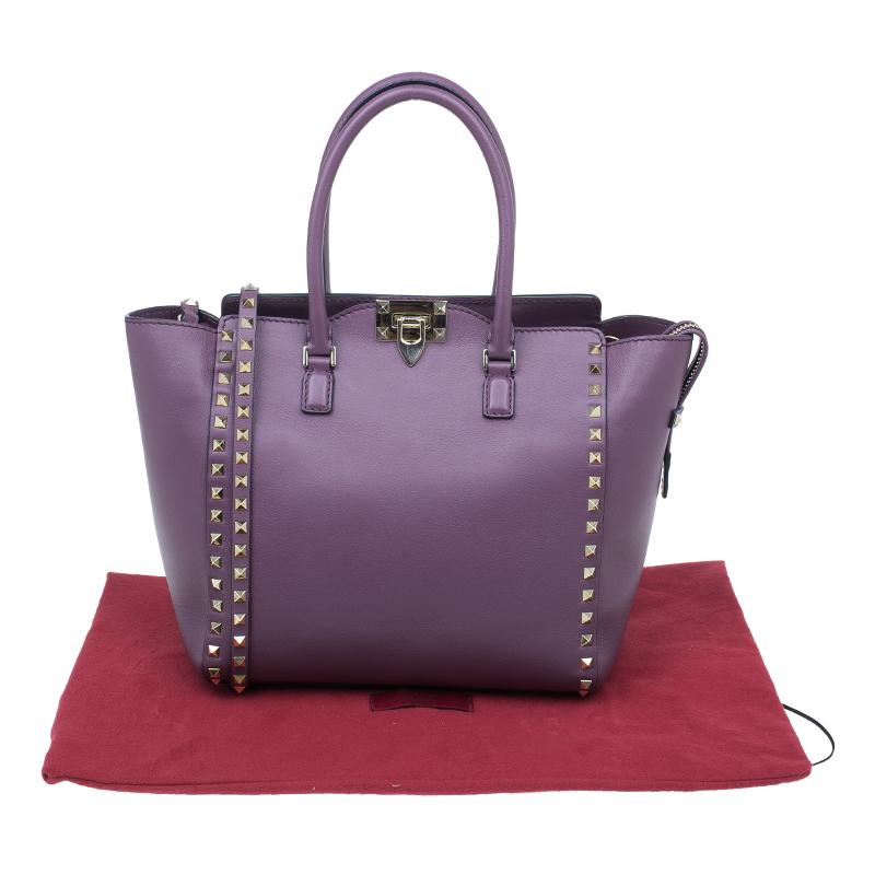 Valentino Purple Leather Rockstud Double Handle Bag