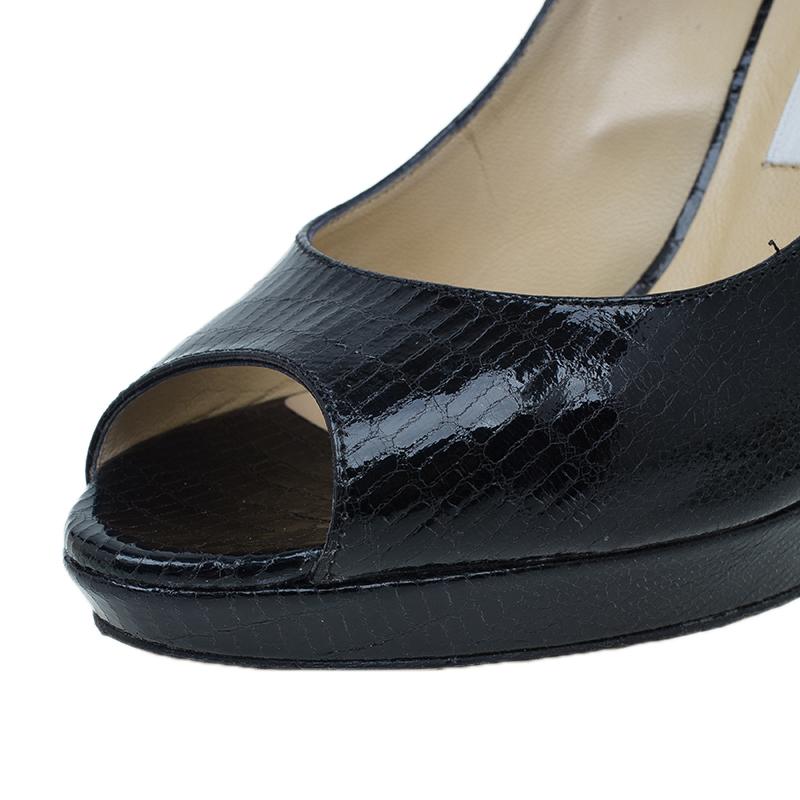 Jimmy Choo Black Lizard Embossed Quiet Peep Toe Pumps Size 38.5
