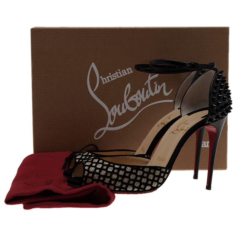 Christian Louboutin Silver and Black Flocked Suede Pina Spike Peep Toe Ankle Strap Pumps Size 37.5