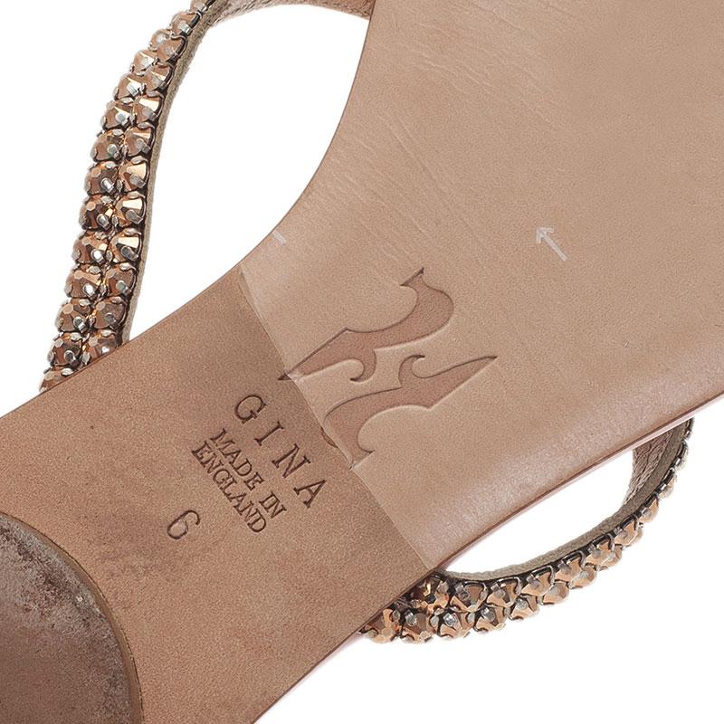 Gina Pink and Bronze Crystal Embellished Flat Slides Size 39