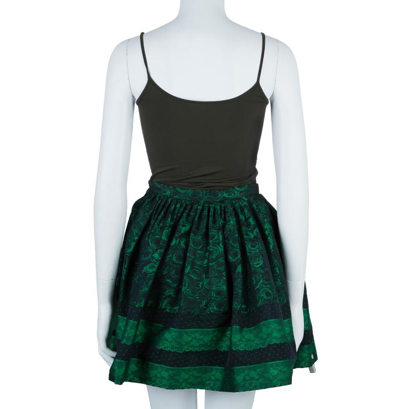 RED Valentino Green & Black Floral Print Skirt S