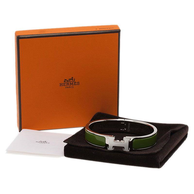 Hermes Clic Clac H Narrow Green Enamel Palladium-Plated White Enameled H  Bracelet