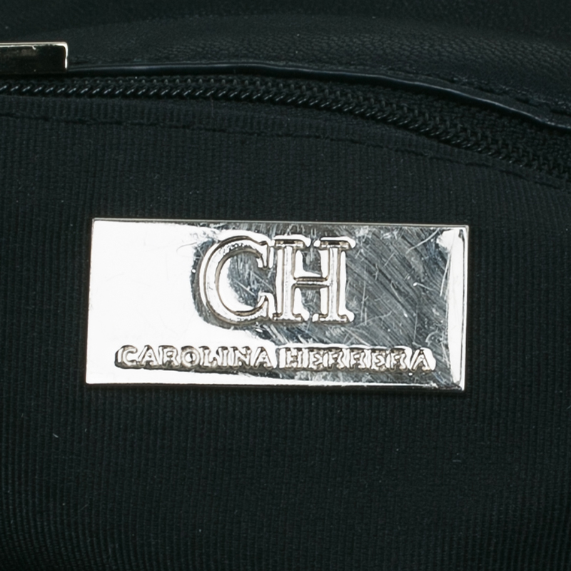 Carolina Herrera Black Monogram Nylon Drawstring Flap Bag