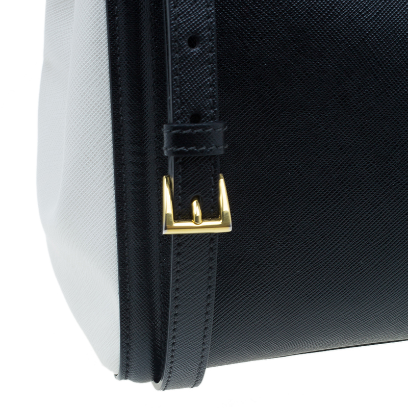 Prada Black Cream Bi-Color Saffiano Lux Leather Tote