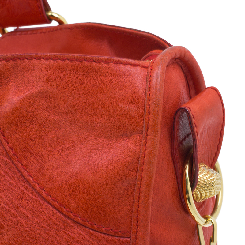Balenciaga Red Leather Giant Part Time Shoulder Bag