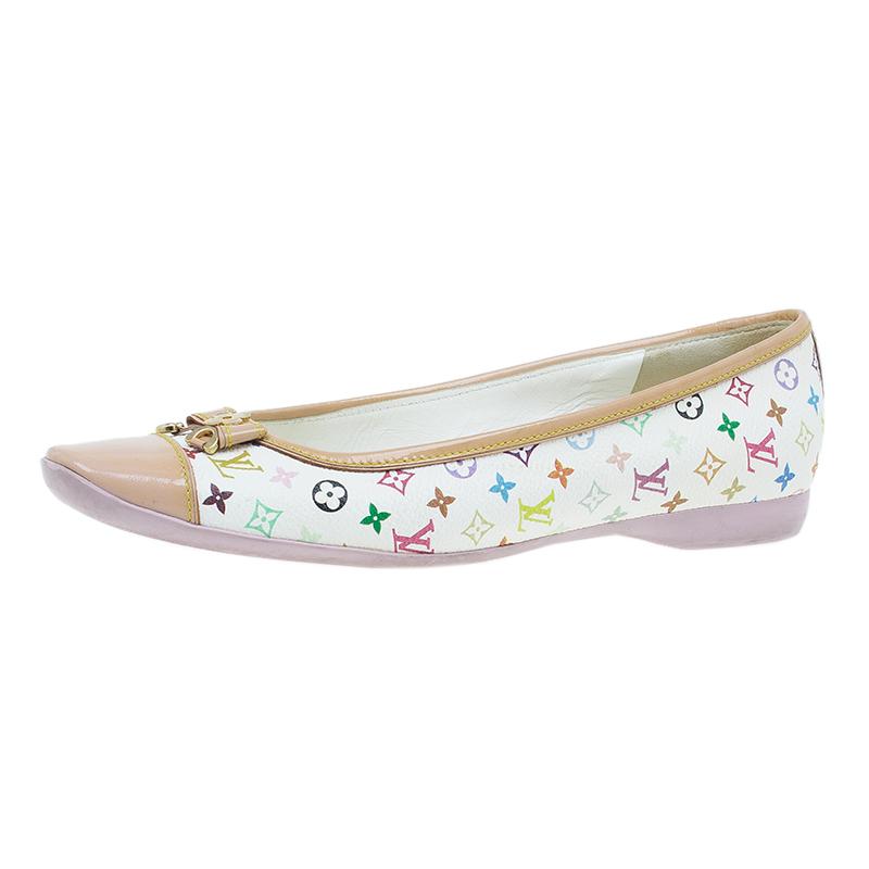 Louis Vuitton White Monogram Multicolor Canvas Flats Shoes Size 36