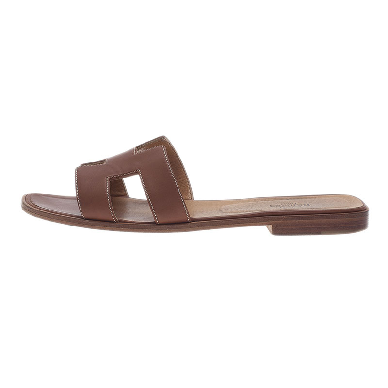 Hermes Brown Leather Oran Sandals Size 39.5