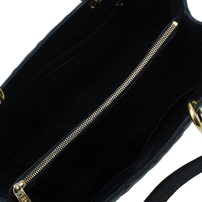 Chanel Black Quilted Caviar Leather Grand GST Shopper Tote Bag